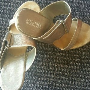 Michael Kors Gold Leather Platform Mules